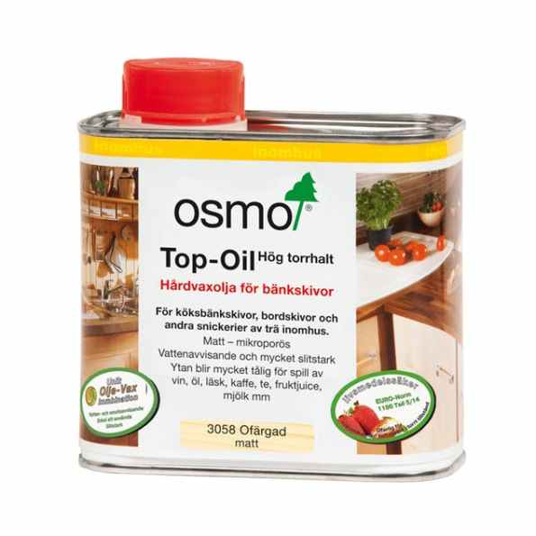 OSMO Top Oil för bänkskivor (ofärgad, matt och sidenmatt)