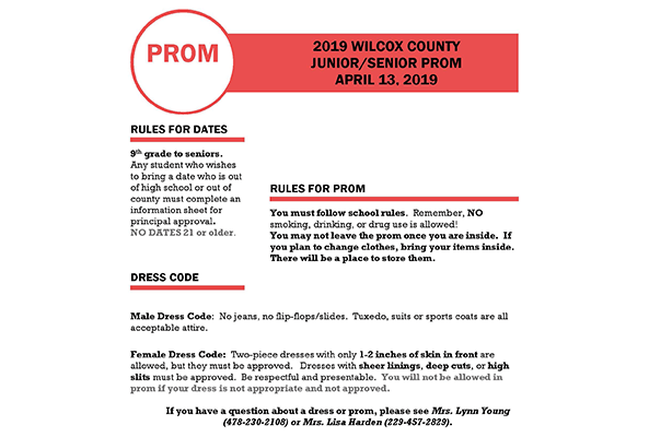 166e001790a Prom Information 2019  Updated 1 17 19  – Wilcox County Schools