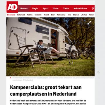 Artikel in het AD: groot tekort aan camperplaatsen in Nederland