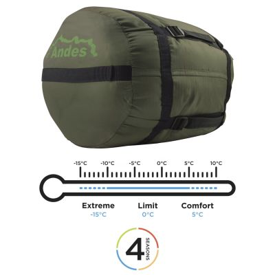 Andes Nevado 400 4 Season 400 XL Camping Hiking Mummy Sleeping Bag - image  on https://www.wild-survivor.co.uk