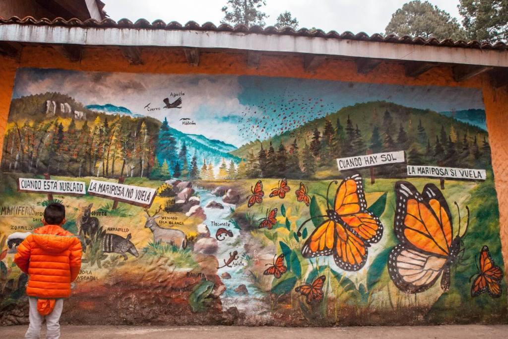 Mexiko Monarchfalter Wandbemalung