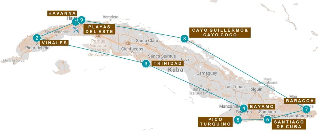 Reiseroute Kuba Karte