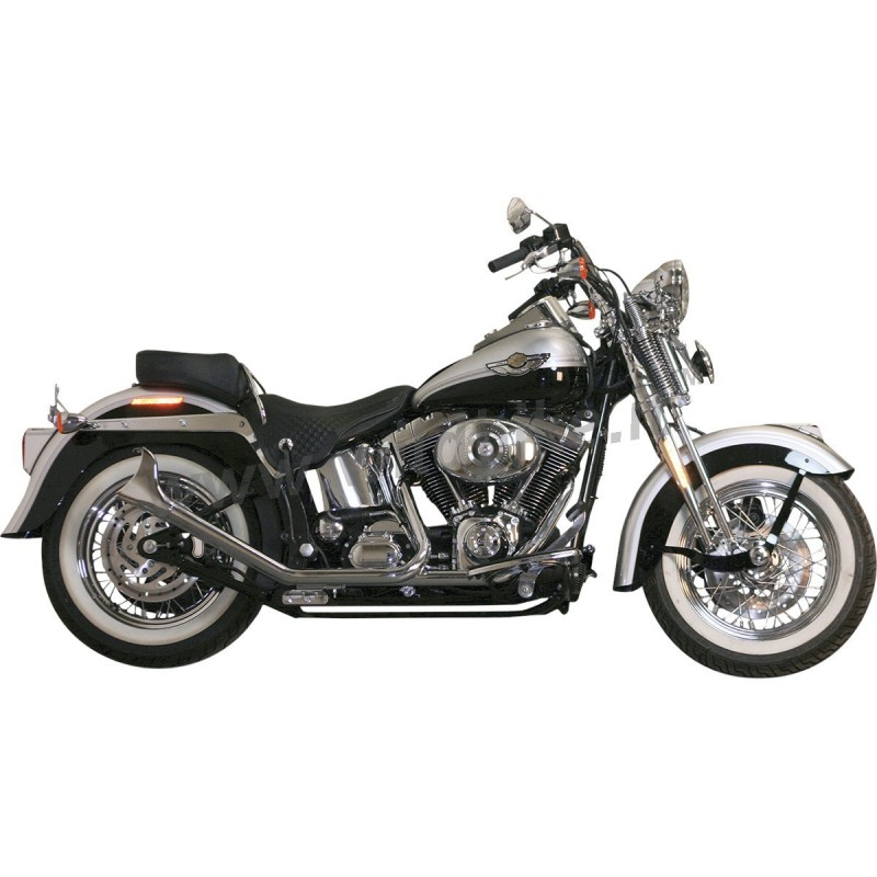 exhausts system fishtail 2 into 2 chrome for harley davidson fxst flst softail 00 17