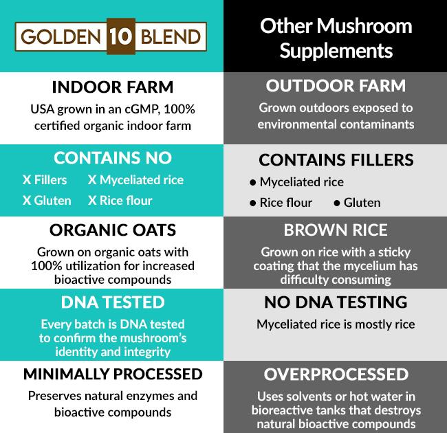 Golden 10 Blend Mushroom Capsule supplement