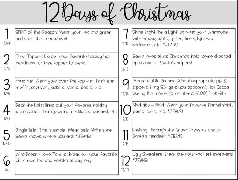 Twelve Days Of Christmas Notes.12 Days Of Christmas Wildcat Chronicle Online