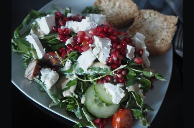 Healthy Easter Lunch with Rachel's Organic Yogurt: Peashoot, Goats Cheese and Pomegranate Salad with Yogurt Dressing