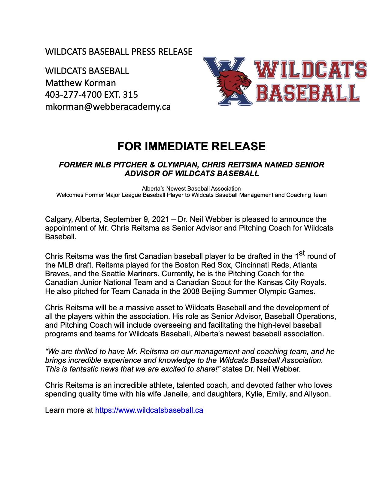 Chris Reitsma Press Release Wildcats Baseball (1)