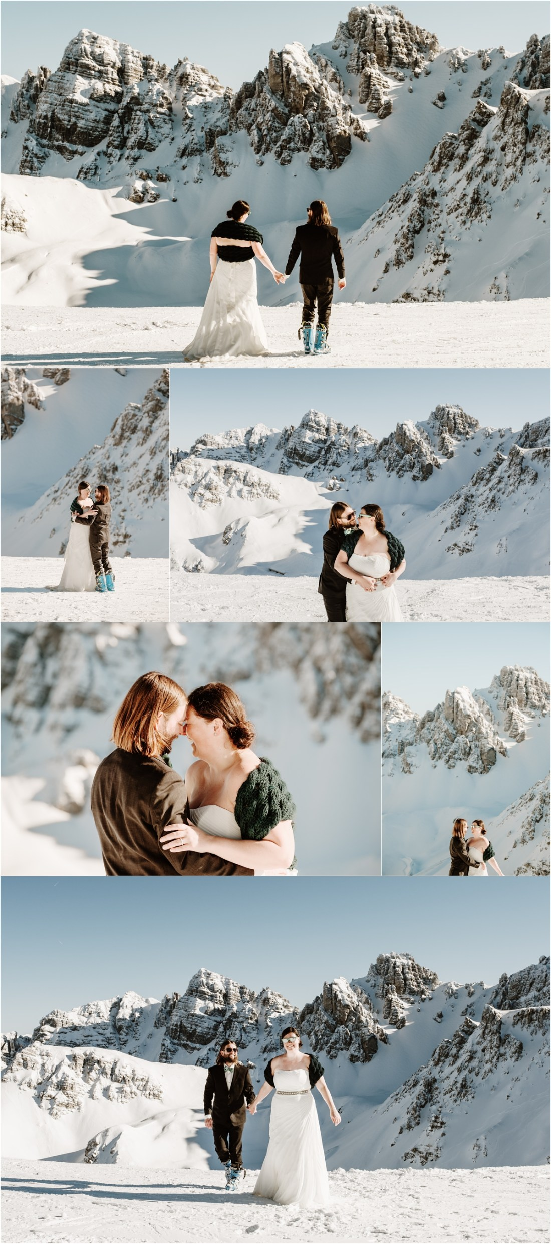 A skiing inspired wedding shoot in the mountains around Innsbruck by Wild Connections Photography