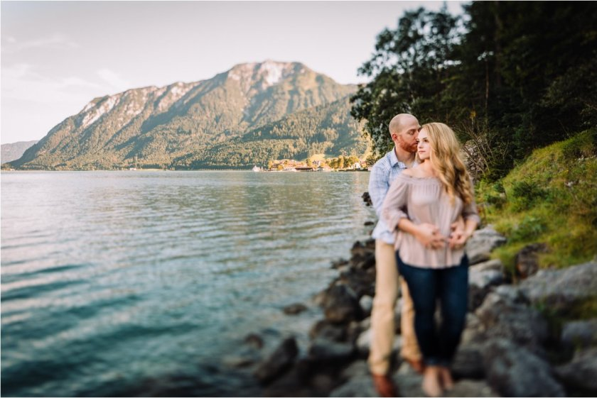 Melanie and Jesse standing on the shore of Lake Achensee