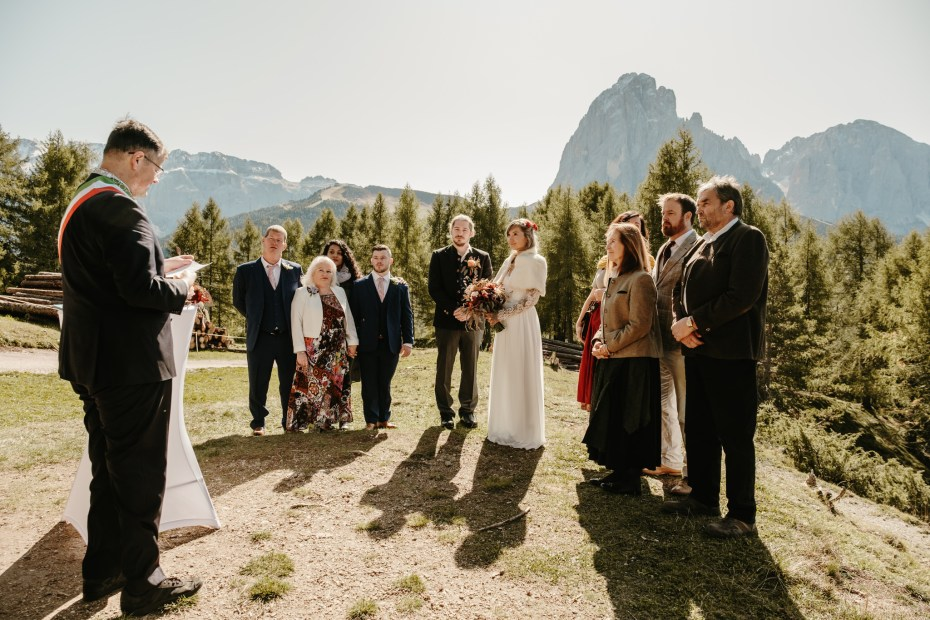 Mountain wedding ceremony in the Dolomite Alps in Italy by Wild Connections Photography