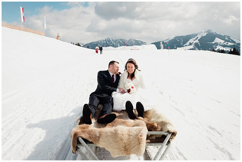 Wedding Ski-Doo takes Wayne and Michelle to their ceremony on a trailer