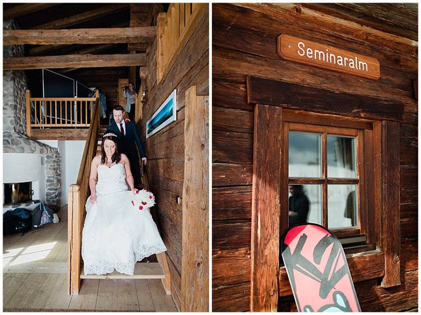 Mountain Lodge Wedding at the seminaralm as Wayne & Michelle walk down the wooden staircase after their ceremony