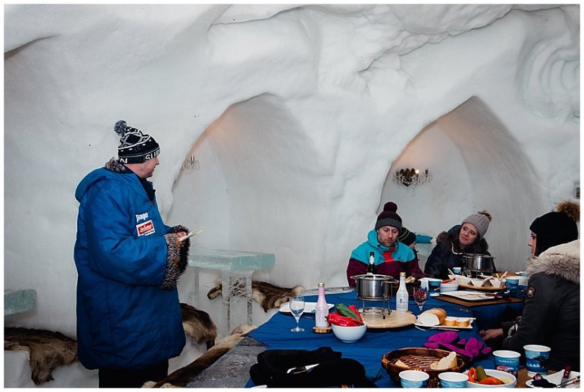 The best man stands up to make a speech after dinner in the igloo and Michelle get's emotional