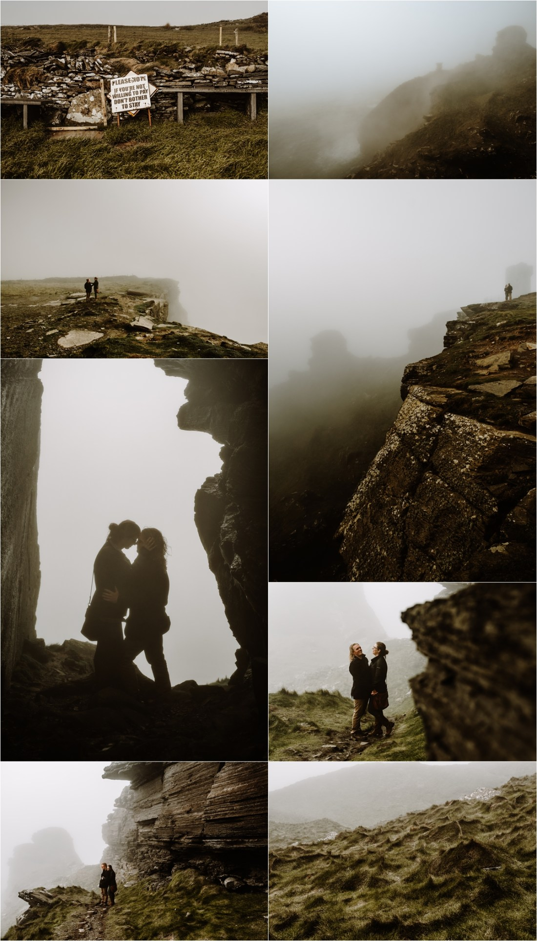 Elizabeth & Matt search for a ceremony location the day before their elopement ceremony on the Cliffs of Moher in Ireland. Photos by Europe Elopement Photographer Wild Connections Photography