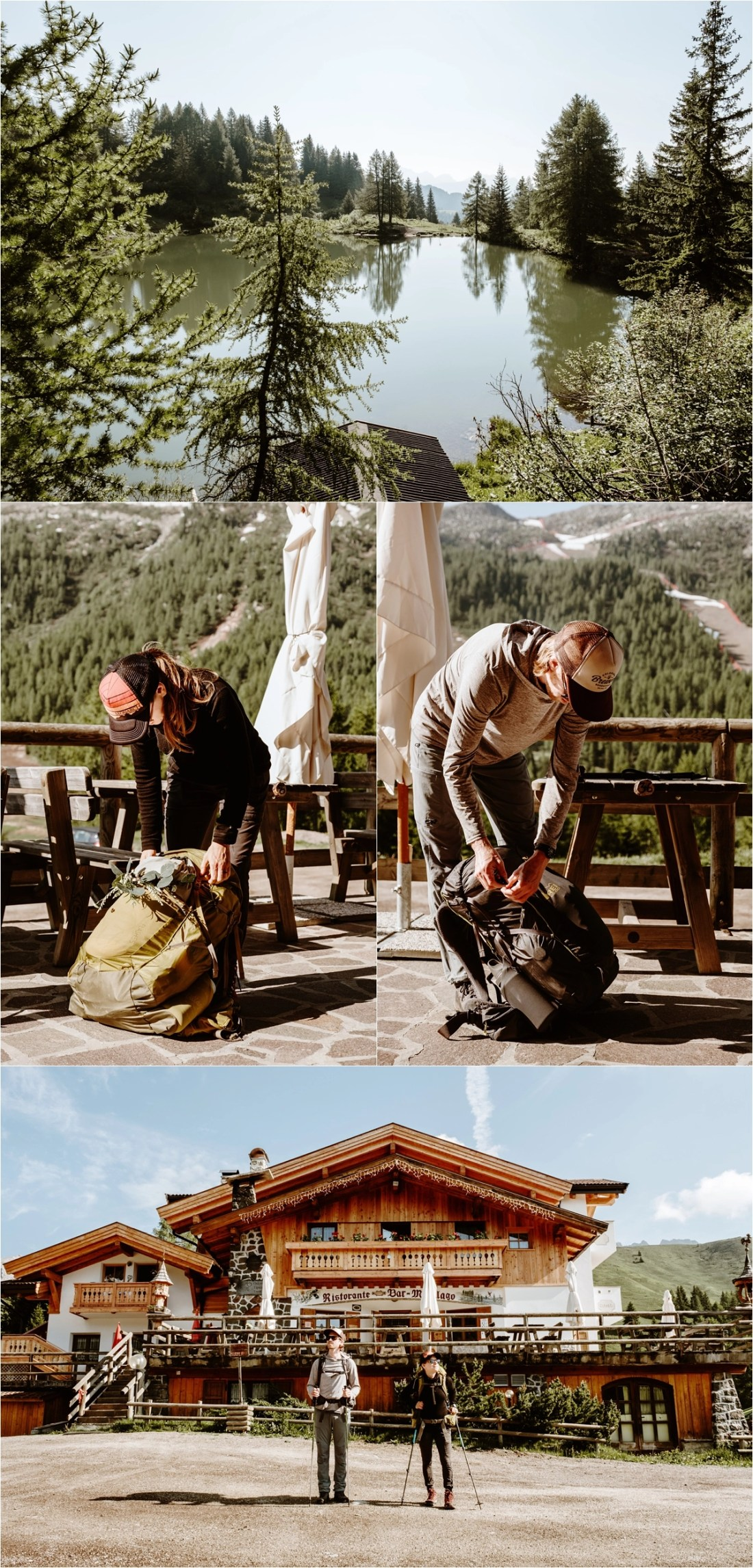 Adam & Michelle prepare for their hiking elopement on the Alta Via 2 in the Dolomites. Photography by Wild Connections Photography
