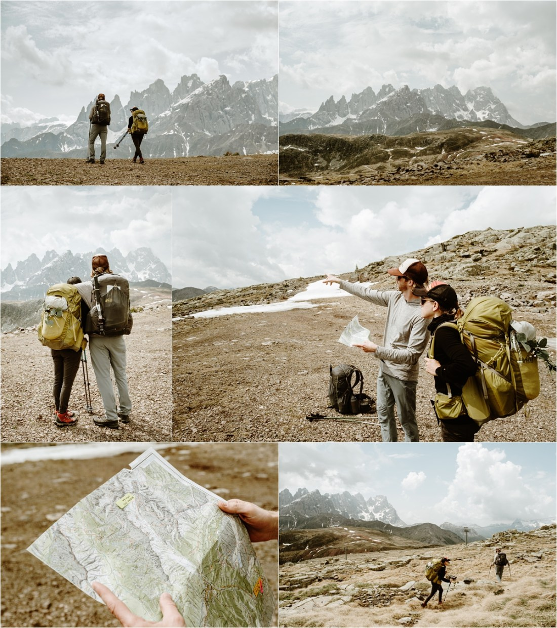 A hiking elopement from Passo San Pellegrino on the Alta Via 2. Photography by Wild Connections Photography