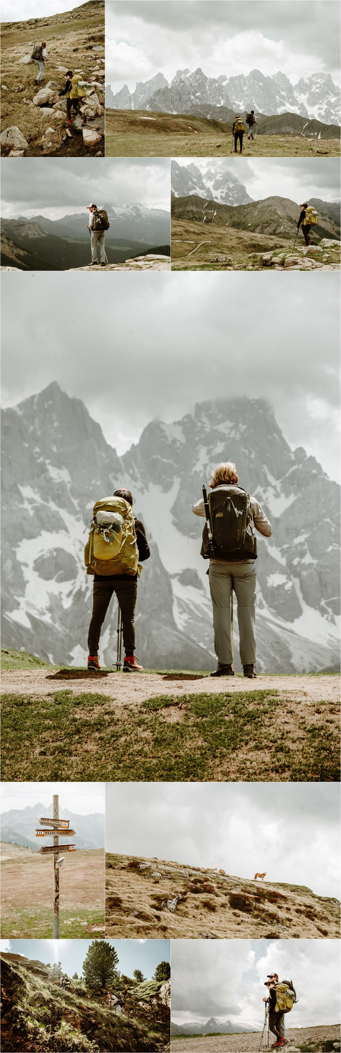 Hiking the Alta Via 2 in the Dolomites to Passo Valles. Photography by Wild Connections Photography