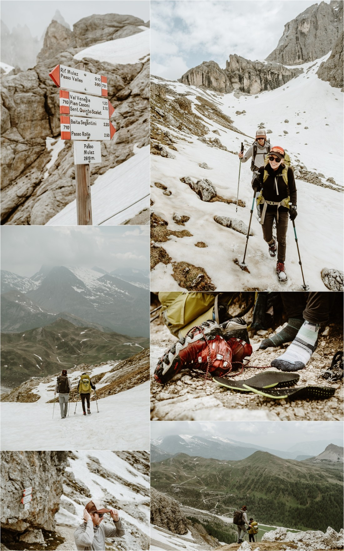 Hiking down in the snow from Rifugio Mulaz to Passo Rolle. Photography by Wild Connections Photography