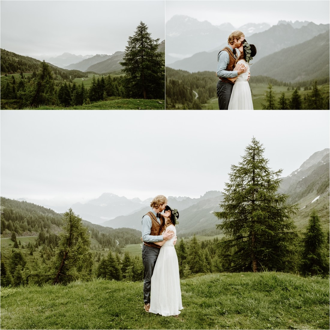 The bride and groom stand in a meadow in the rain with views of the Dolomites behind them. Photography by Wild Connections Photography