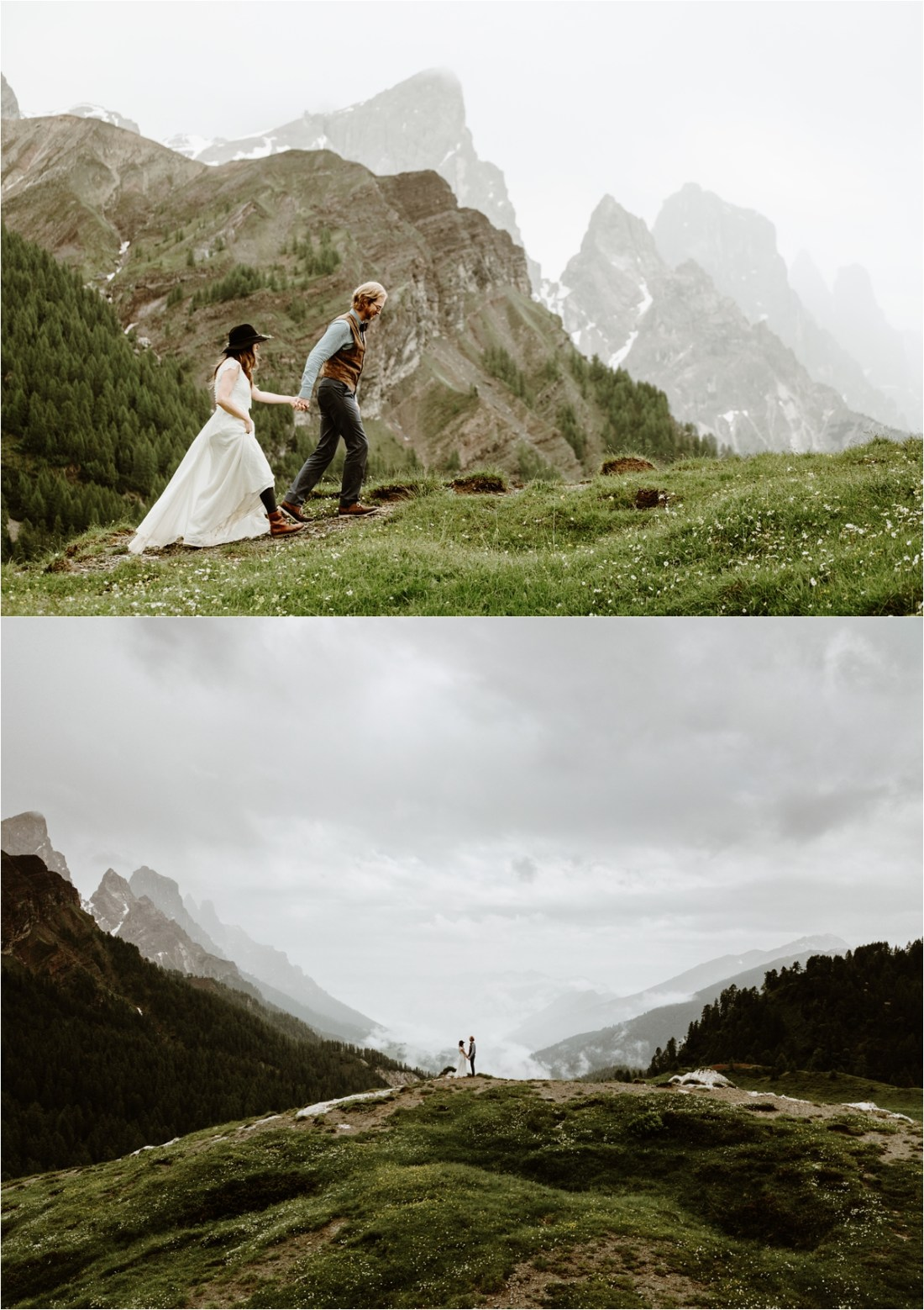 Adam & Michelle hike up to the location where they want to have their elopement vows ceremony. Photography by Wild Connections Photography