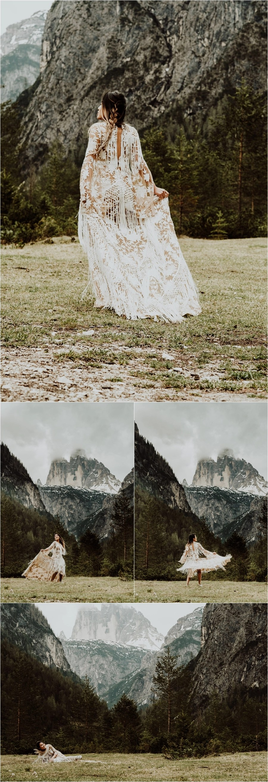 Rue De Seine Boho wedding dress for a Dolomites pre-wedding engagement shoot by Wild Connections Photography