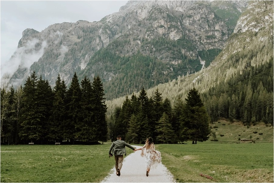 Adventure wedding Dolomites pre-wedding engagement shoot by Wild Connections Photography