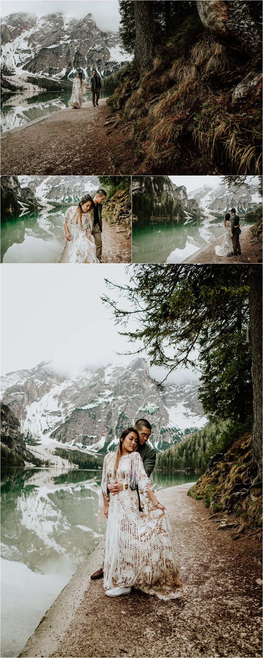 Bohemian pre-wedding engagement shoot in the Dolomites with A Rue De Seine Wedding Dress - Photos by Wild Connections Photography