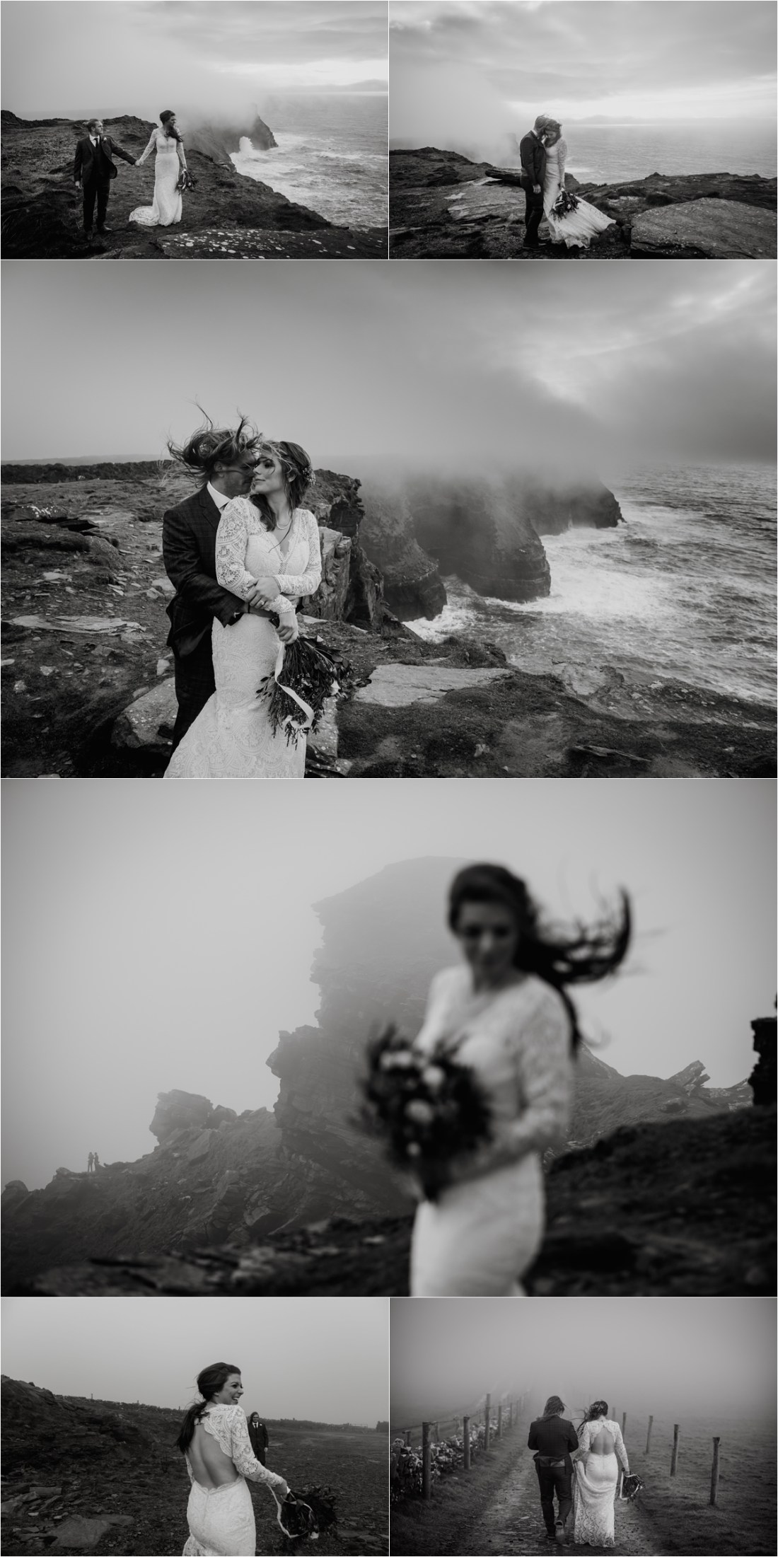 The wild Atlantic winds blow the bride and grooms hair as they embrace at the Cliffs of Moher in Ireland. Photos by Europe Elopement Photographer Wild Connections Photography