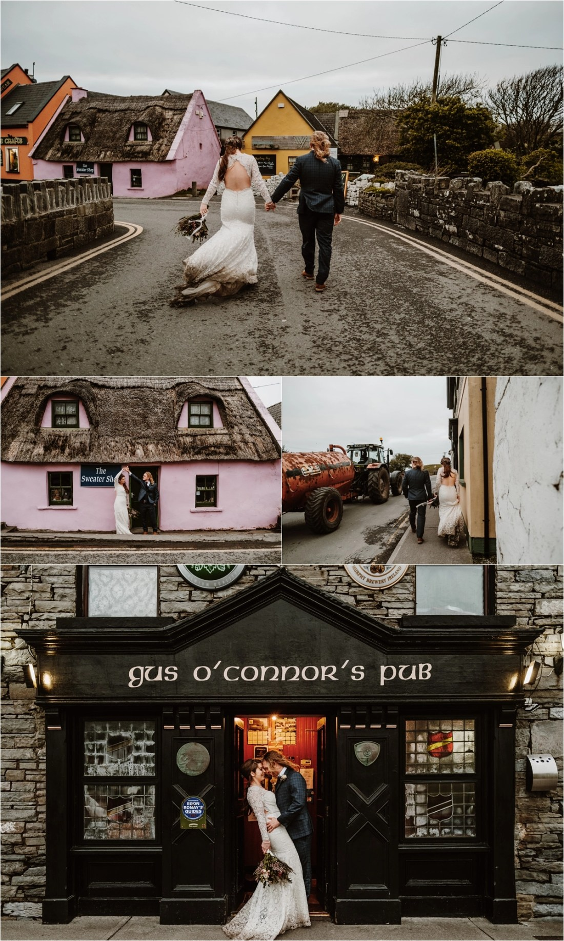 Elizabeth & Matt walk to Gus O'Connors Pub in Doolin for their Irish elopement wedding reception. Photos by Europe Elopement Photographer Wild Connections Photography