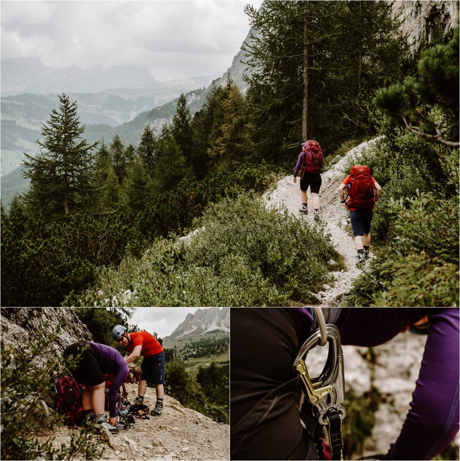 Newlyweds get ready to climb the via ferrata. Photo by Wild Connections Photography
