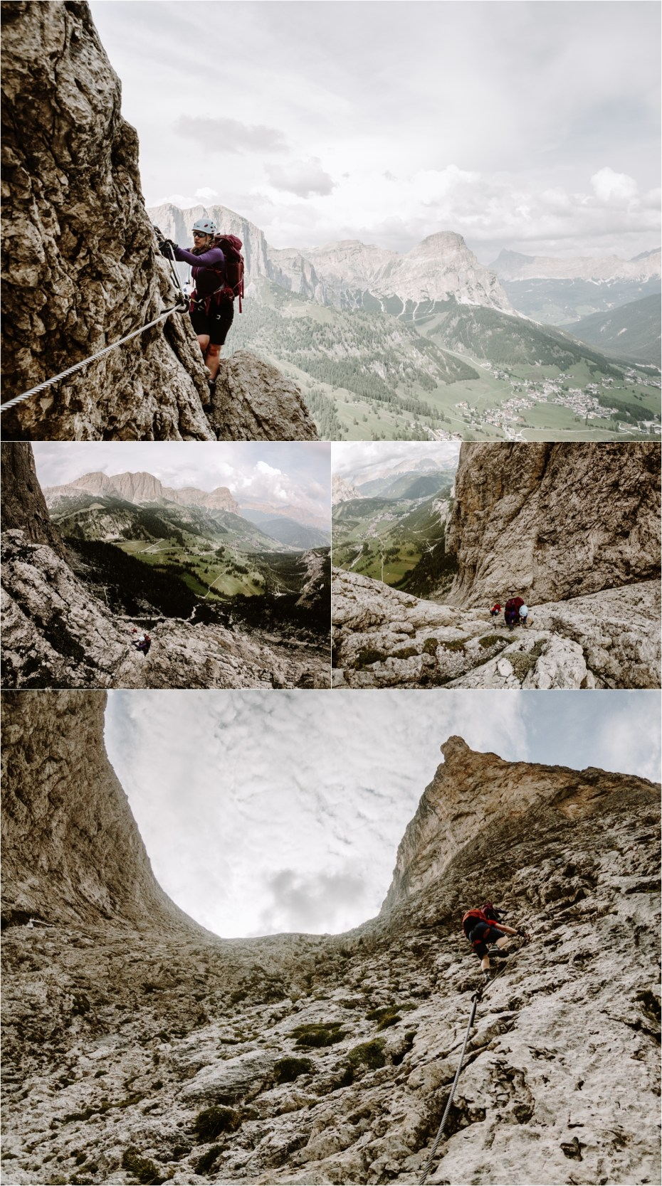 Climbing the via ferrata to refugio pisciadu in the Dolomites. Photo by Wild Connections Photography