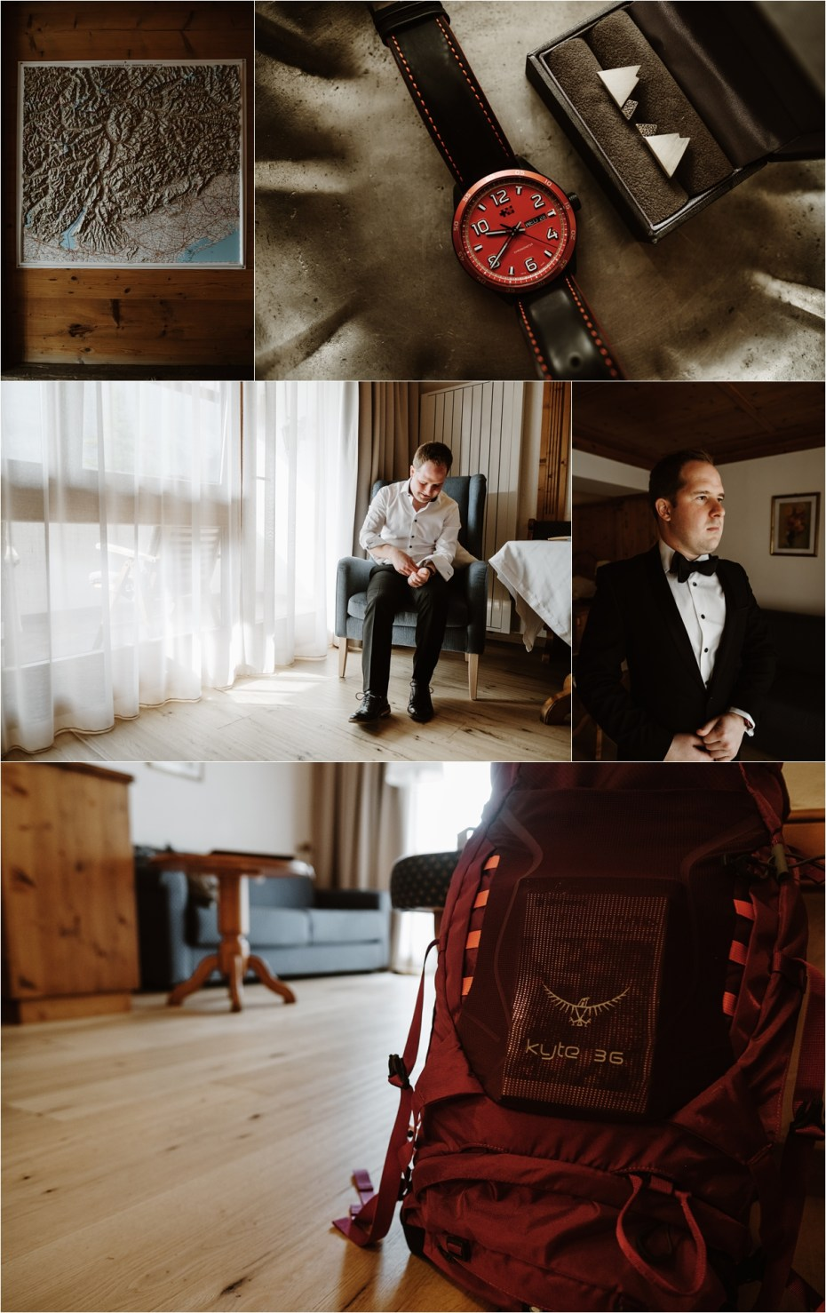 The groom Martin getting ready for his elopement at Hotel Kolfuschgerhof. Photo by Wild Connections Photography