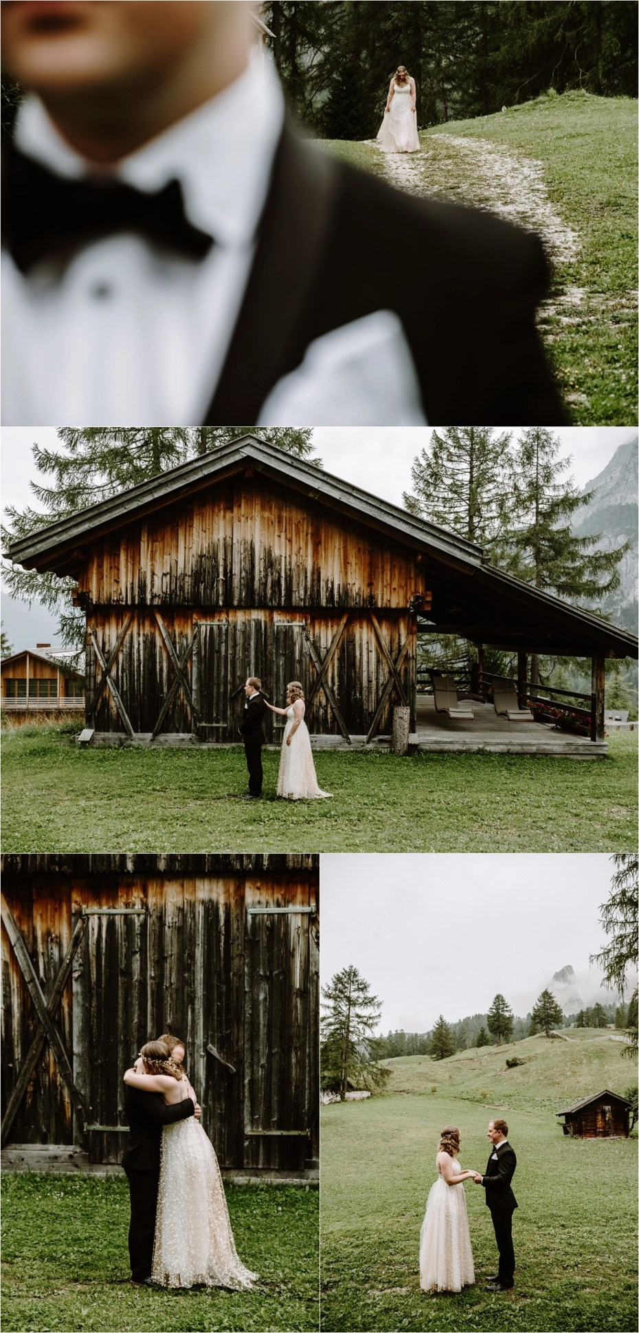 An emotional first look outside Kolfuschgerhof hotel in the Dolomite Mountains. Photo by Wild Connections Photography