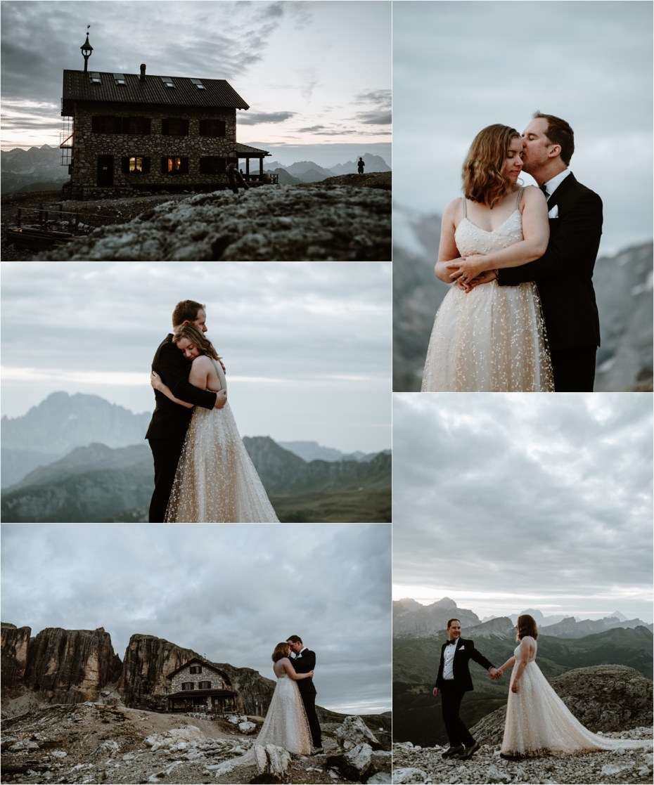 Bride and groom enjoy sunrise at Refugio Franz Kostner in the Dolomites. Photo by Wild Connections Photography
