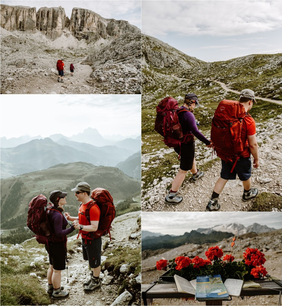 Hiking back down towards Colfosco in Alta Badia. Photo by Wild Connections Photography