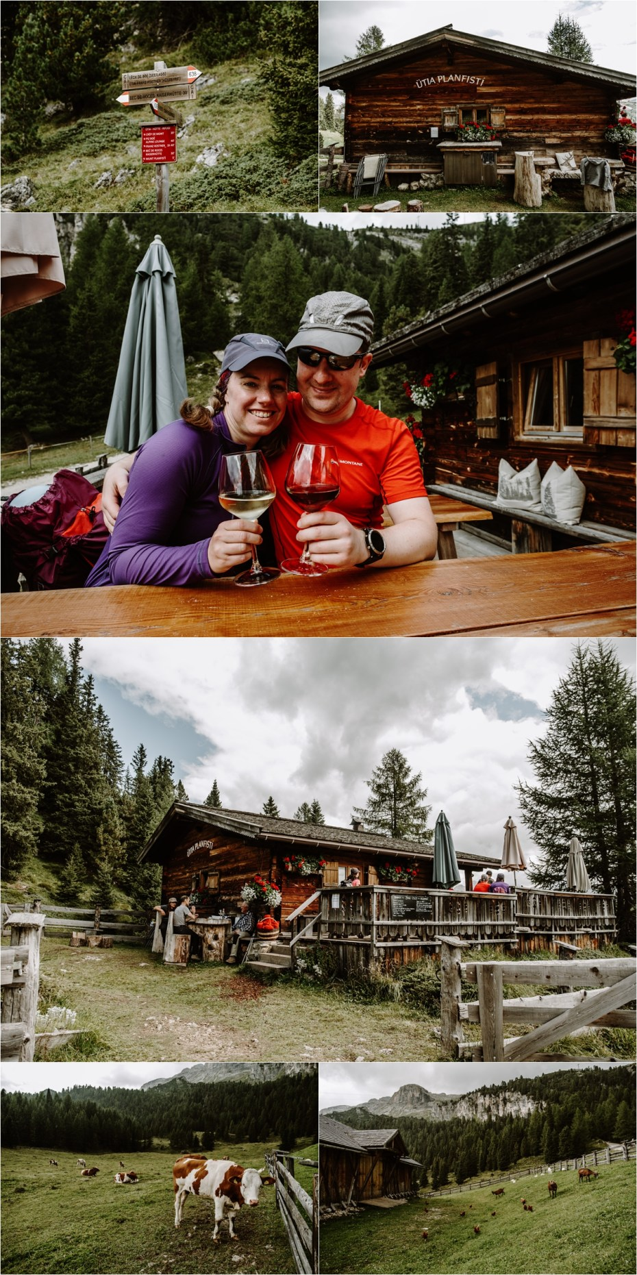 Emma & Martin enjoying local produce at a mountain hut in the Dolomites. Photo by Wild Connections Photography