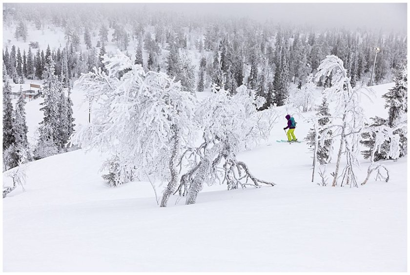 Cat skiing throught the frozen trees in Levi Ski Resort in Levi Finland by Wild Connections Photography