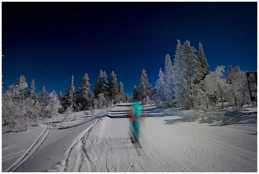 Aurora Borealis Ski Tour Menno tours up the ski slope in Levi Finland by Wild Connections Photography