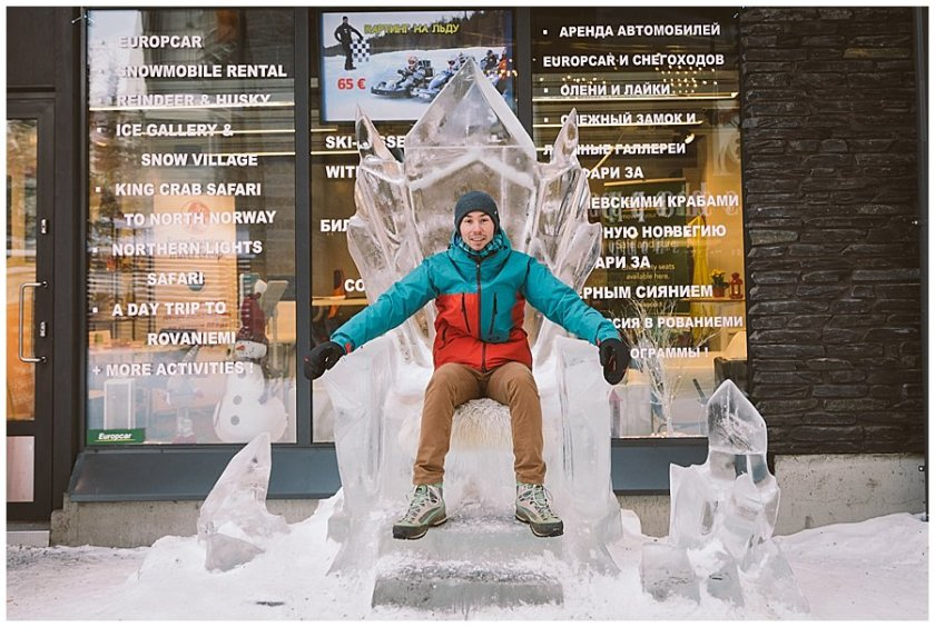 Menno Ekkelboom sits on an ice throne in Levi Finland by Wild Connections Photography