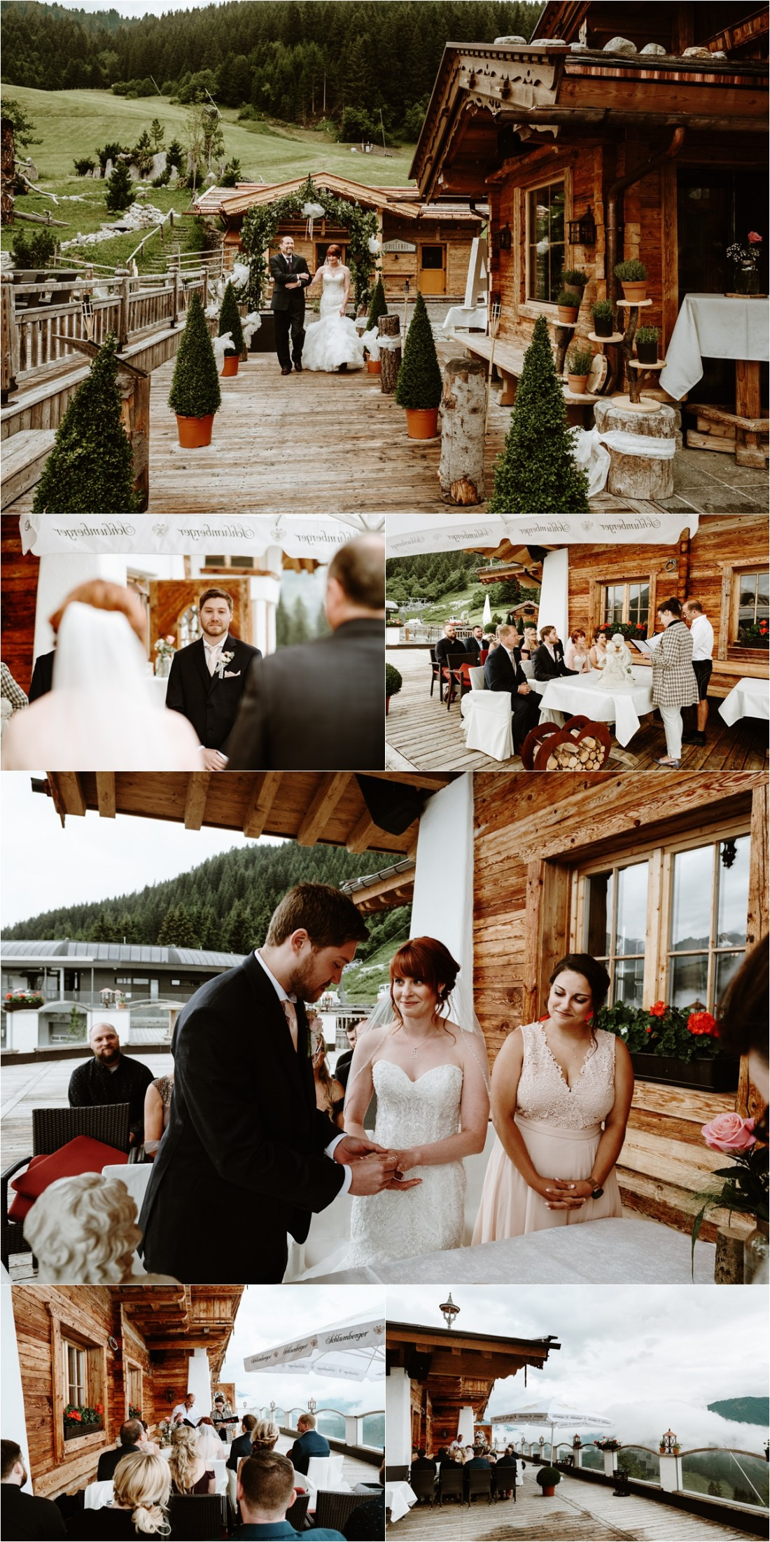 An intimate wedding ceremony on the terrace of the Rössl Alm, a mountain chalet in Gerlos Austria. Photos by Wild Connections Photography