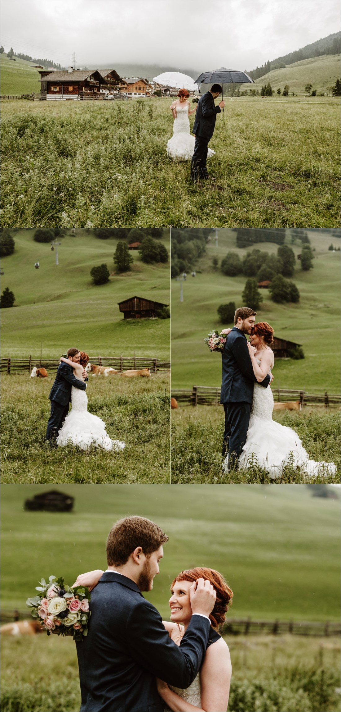 The bride and groom walk through the green meadows in Gerlos Austria. Photos by Wild Connections Photography