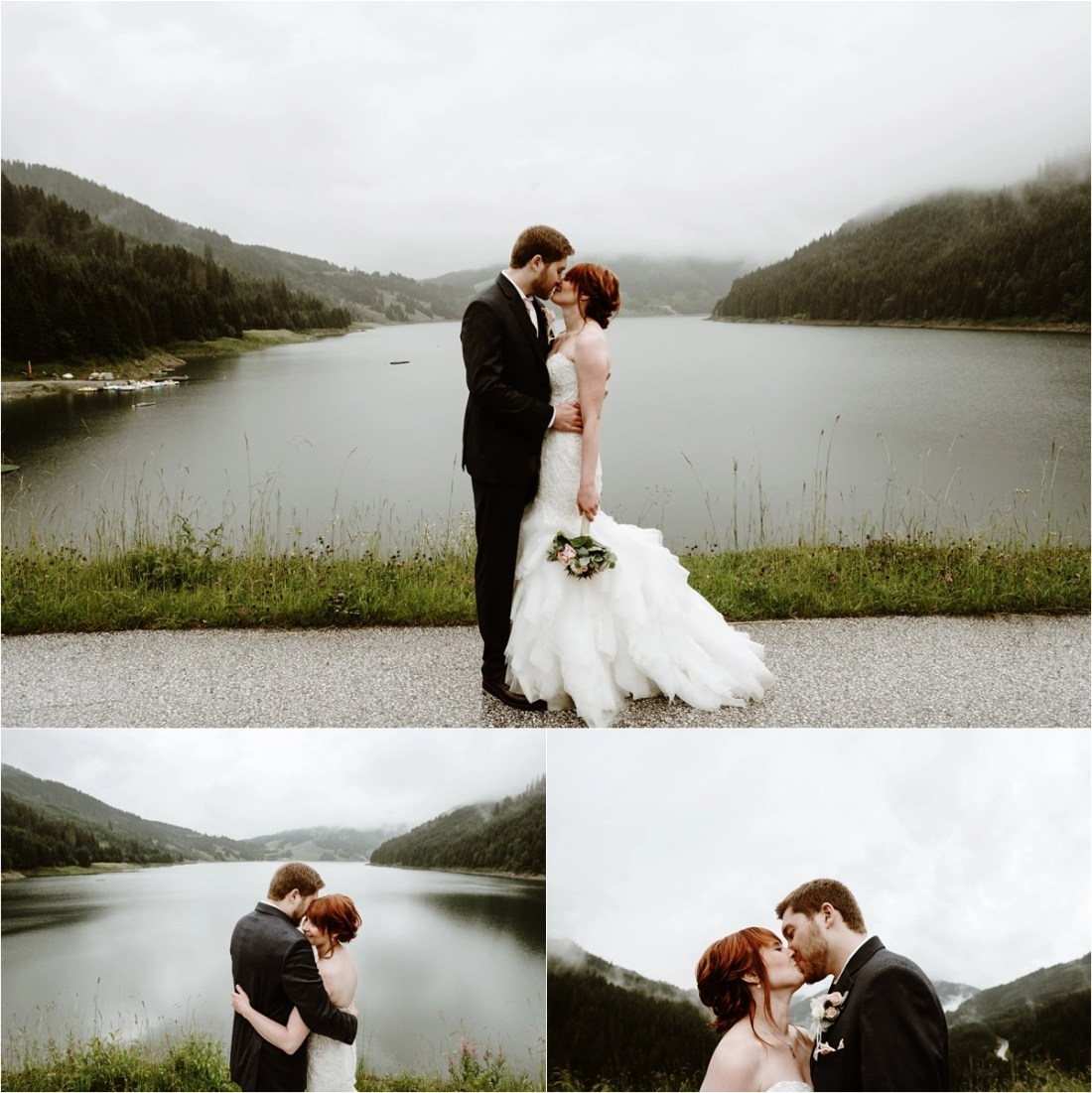 The bride and groom kiss in front of a large lake in Gerlos Austria after their mountain chalet wedding in the Alps. Photos by Wild Connections Photography