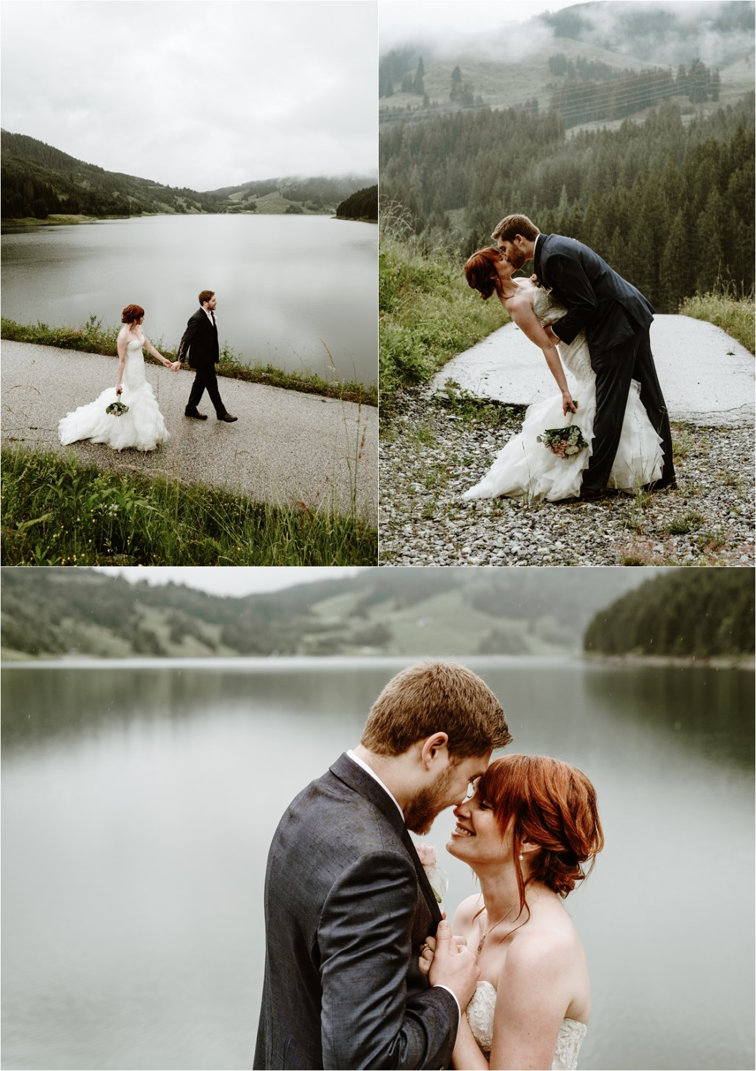 The bride and groom kiss in the rain after their intimate ceremony in the Austrian Alps. Photos by Wild Connections Photography