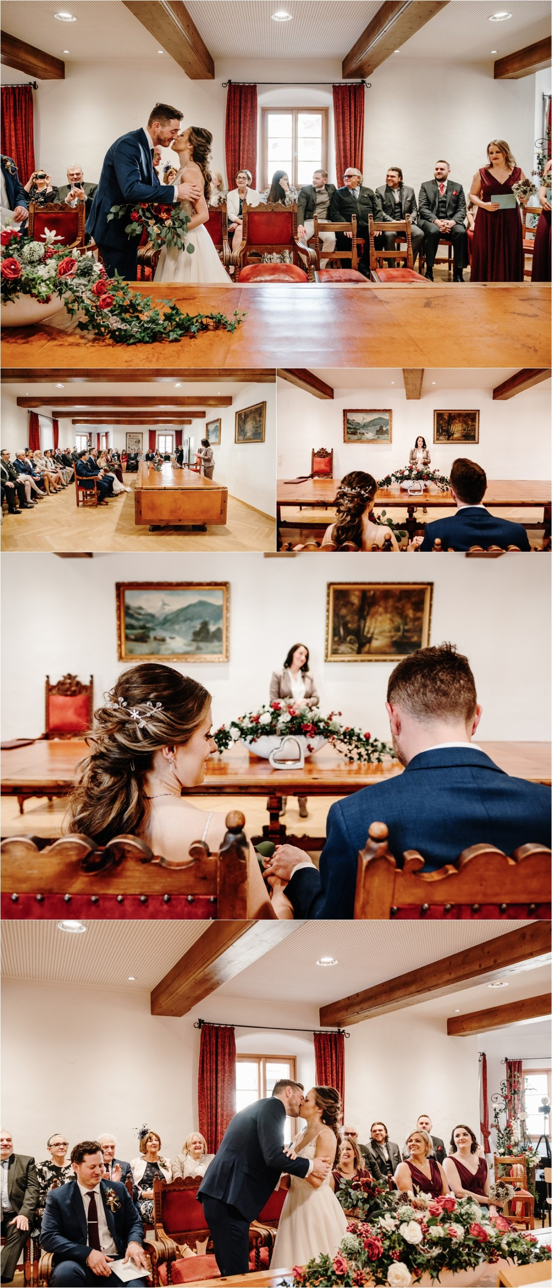 A civil wedding ceremony by the Standesamt Zell am See captured by by Wild Connections Photography