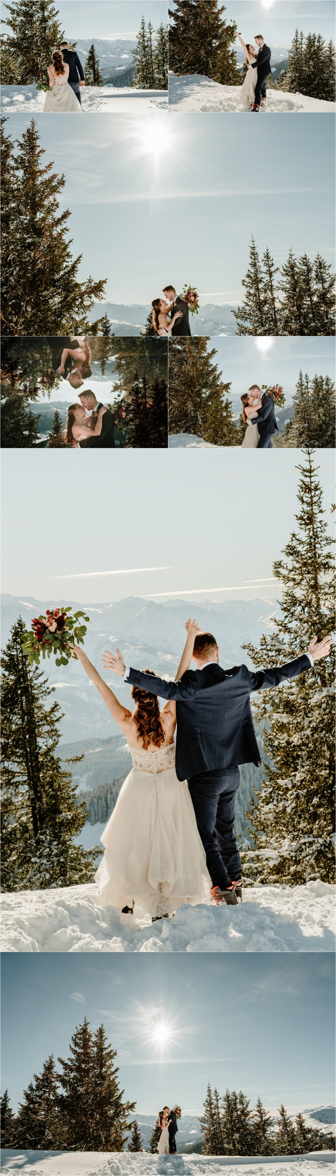 Bride & Groom Gerry-Rae & Nick celebrate their wedding on the top of the mountain in Zell am See Austria by Wild Connections Photography