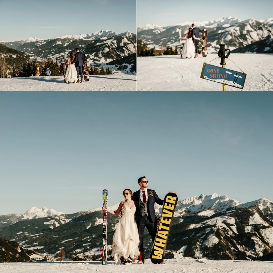 Gerry-Rae & NIck pose on the slopes with skis and a snowboard after thir spring wedding in Zell Am See Austria by Wild Connections Photography