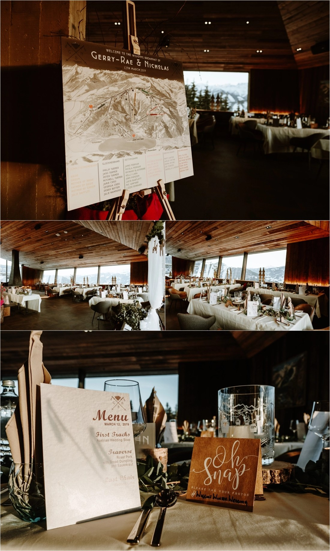 A winter ski resort wedding reception at the AreitLounge in Zell am See Austria by Wild Connections Photography