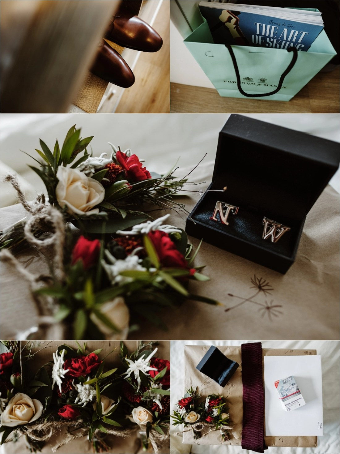 Winter wedding groom details by Wild Connections Photography