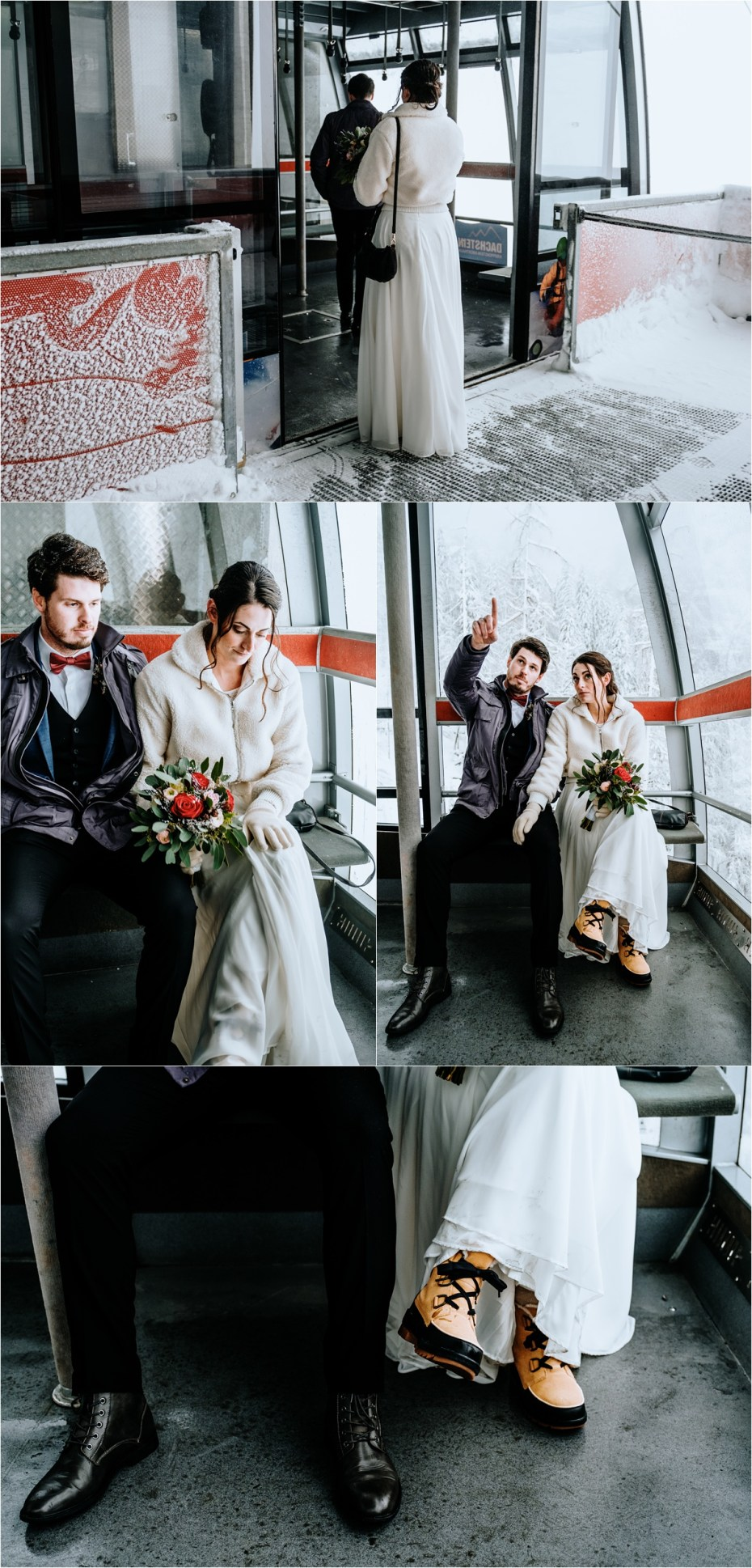 Bride and groom in the Dachstein Krippenstein cable car. Photos by Wild Connections Photography