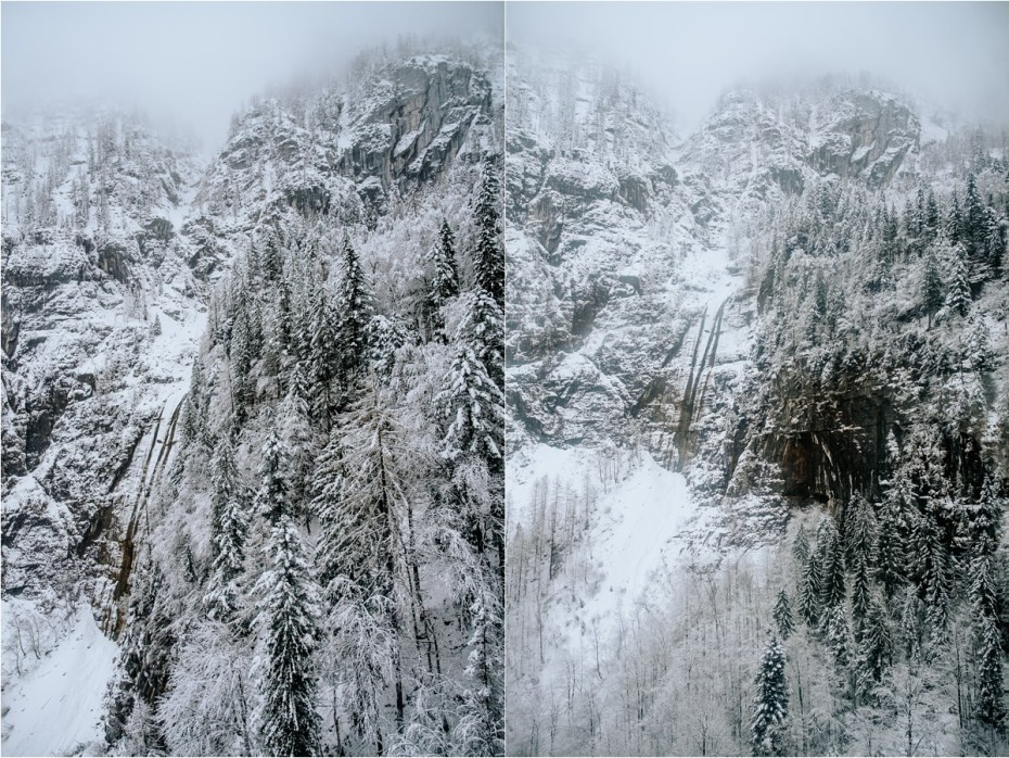 Snow covered cliffs in the Dachstein mountains. Photos by Wild Connections Photography
